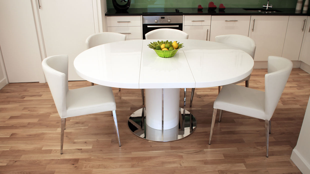 Picture of: White Pedestal Dining Table with Extentions