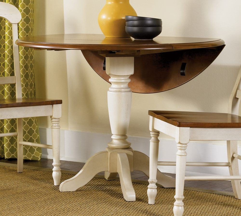 Image of: White Pedestal Dining Table with Leaf