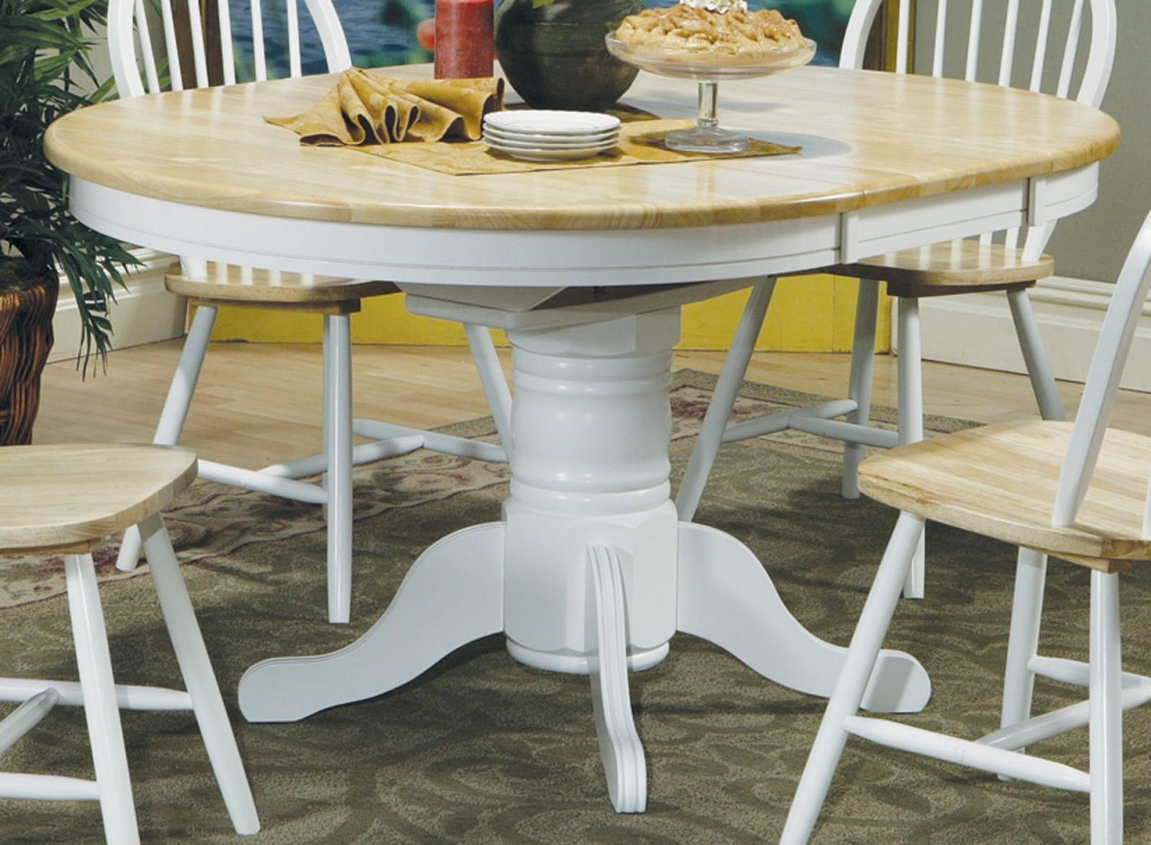 Image of: White Pedestal Dining Table