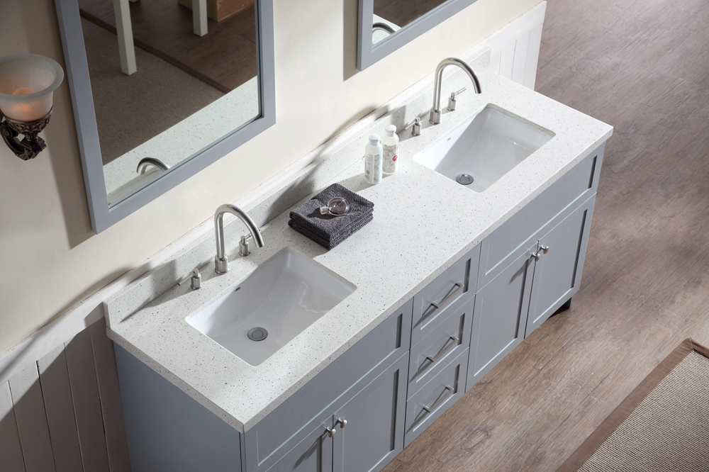 Image of: White Quartz Double Sink Vanity Top
