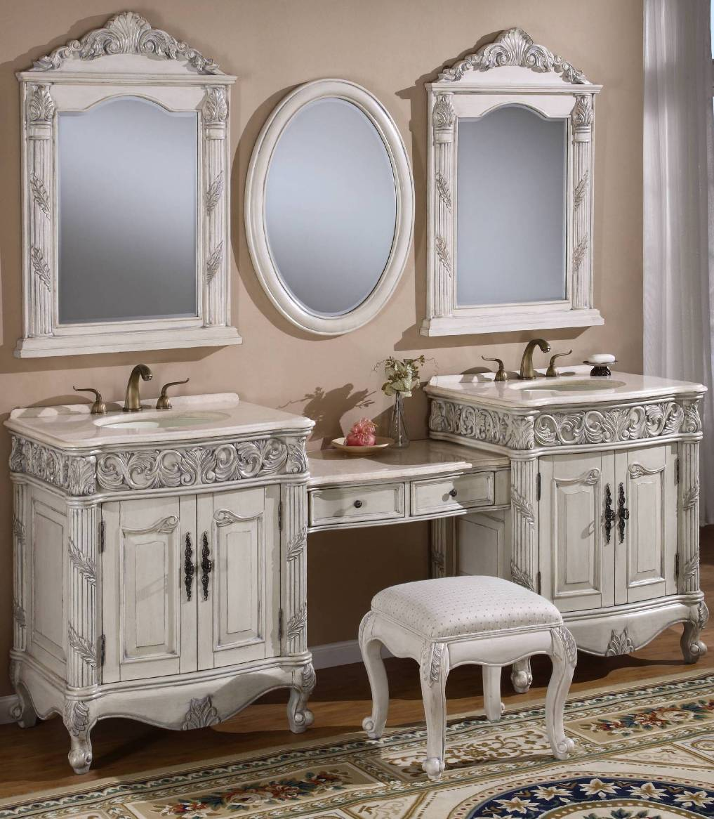 Image of: Whitewash Vanity Mirror with Lights Ikea