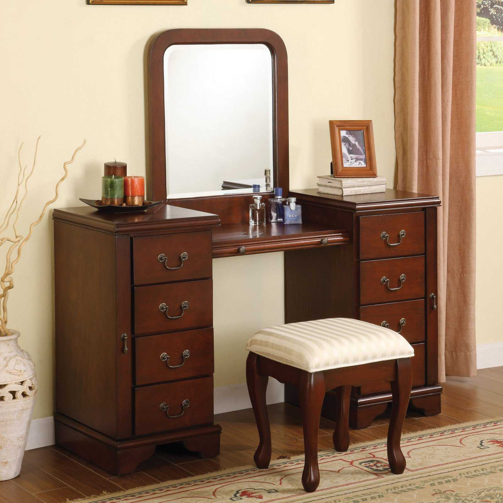 Picture of: Wood Bedroom Vanity with Drawers