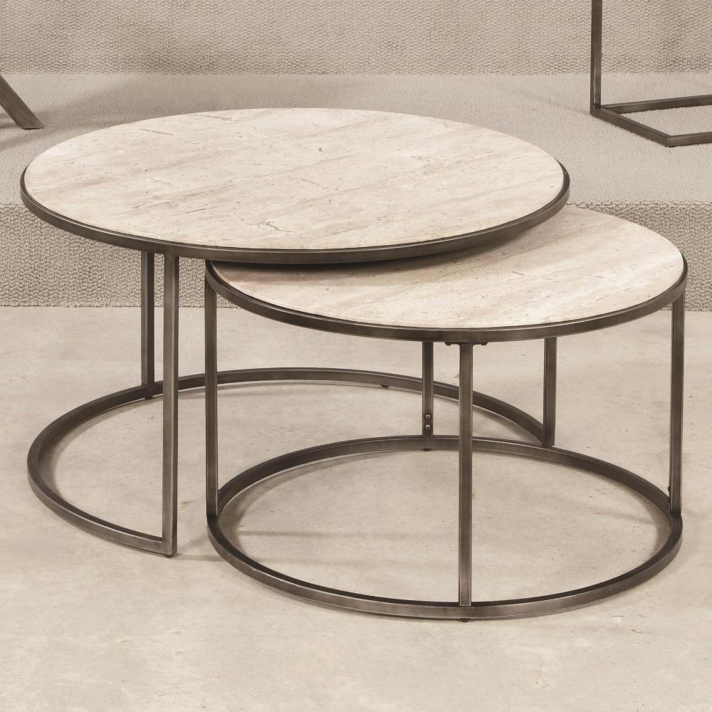 Image of: Wood Round Nesting Tables