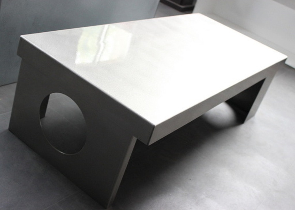 Picture of: wood and stainless steel coffee table
