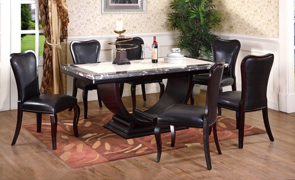 Image of: marble top dining table designs