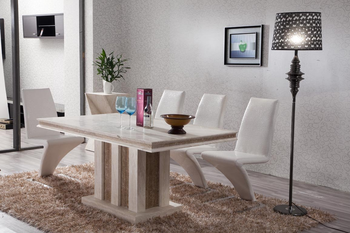 Image of: white marble top dining table